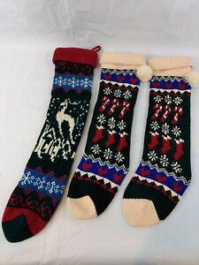 Knit Christmas Stockings 19 Quot Long Bundle Lot Of 3 Reindeer