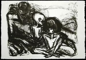 DDR-Kunst-034-Mann-mit-Kindern-034-1989-Lithogr-Ellen-FUHR-1958-2017-D-handsigniert