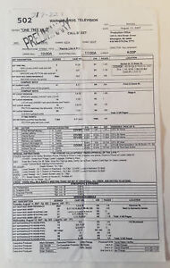 ONE-TREE-HILL-set-used-CALL-SHEET-Season-5-Episode-2