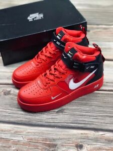buy online 6b380 9a60a Details about NEW NEW NIKE AIR FORCE 1 MID LV8 RED WHITE BLACK SIZE 7-11  MEN'S