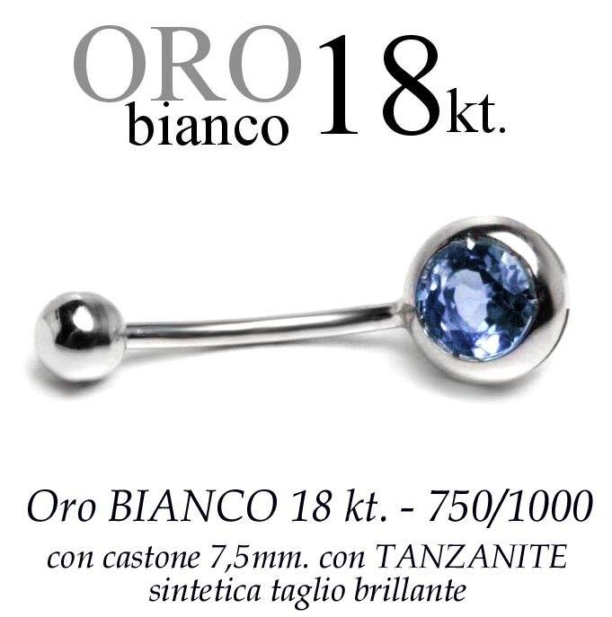 Piercing ombelico belly belly belly oro BIANCO 18kt.CASTONE 7 5 TANZANITE taglio brillante 5b7ce6