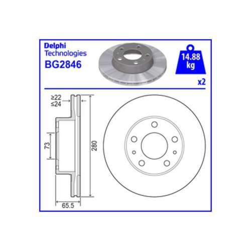 BG2846 Genuine Delphi Front Rear Vented Brake Discs Set Pair