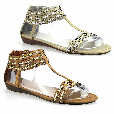 Womens Ladies Flat Heel Ankle Strap Zip Up Summer Gladiator Sandals Shoes Size