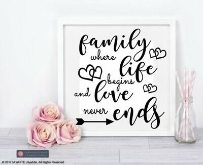Family Where Life Begins Love Ribba Wall Quote Stickers Wall Decals Box Frames