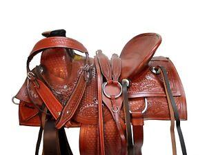 DEEP SEAT WESTERN SADDLE SADDLE ROPING HORSE RANCH TACK SET 16 17 TOOLED LEATHER