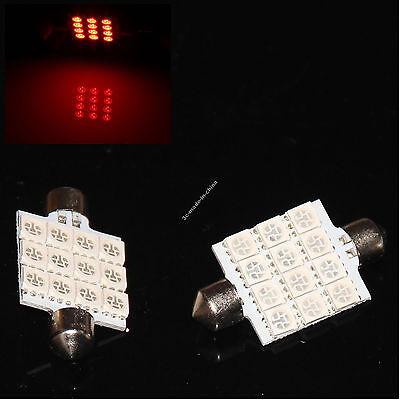 Red Festoon 41mm Dome 12 5050 LED SMD Car Panel Light Lamp Bulb Xenon 12V New