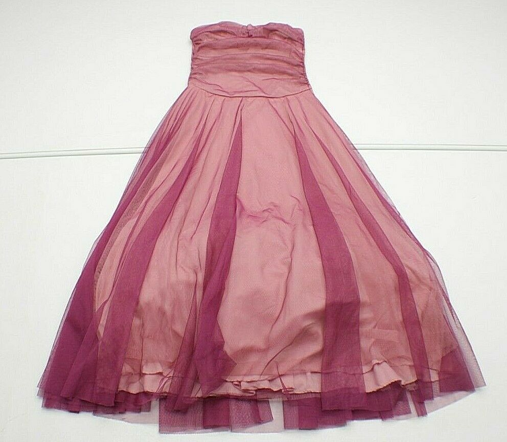KIKI Womens XS Purple/PINK HALTER MESH LAYERED Polyester Formal Prom Dress Gown