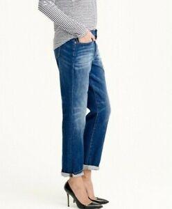 J-Crew-Broken-In-Boyfriend-Jeans-Dark-Wash-Faded-Denim-Womens-Size-28