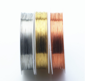 2-spools-x-Silver-Gold-Copper-plated-wire-for-Jewellery-beading-craft-0-2mm-1mm