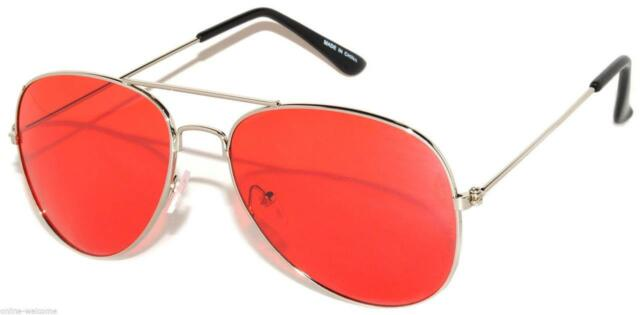 COLORED RED LENS AVIATOR STYLE METAL SUNGLASSES SILVER FRAME SHADES 99% UVB UVA