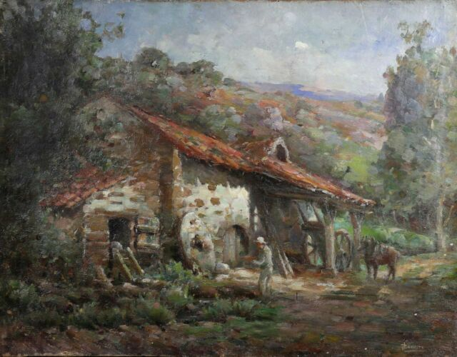 Antique Oil on Canvas Signed Lacoste and Set in Clip Mill of the Town in Castle