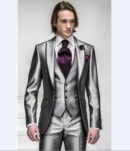 3 Piece Shiny Grey Mens Wedding Suits Groom Tuxedos Groomsman Formal ...