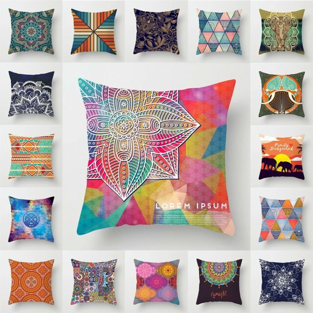 Geometric Mandala Throw Polyester Pillow Case Sofa Cushion Covers Home Decor New