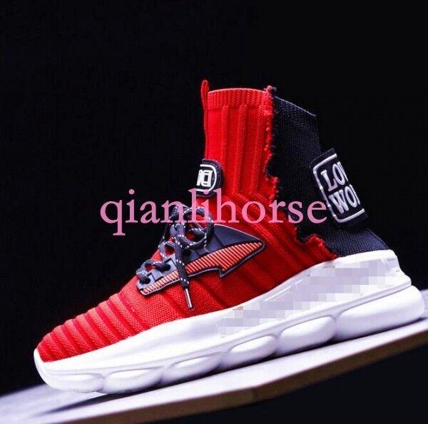 femmes Sock démarrage baskets Sport Embroidery Board Street Wedge Heel Pull on chaussures