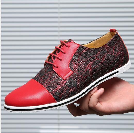 Para Hombre Ocio Low Top tendencia Colorido Colorido Colorido Con Cordones Cuero Zapatos Planos Suave Puntera Puntiaguda S 381851