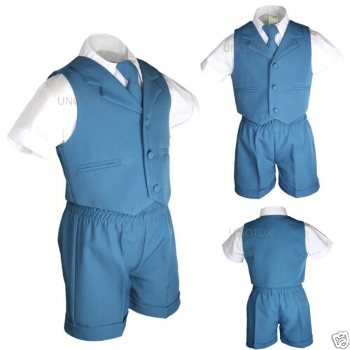 Details about  /Teal Turquoise Boys Infant Toddler Formal Eton 4pc Vest Shorts Outfit Suits S-4T