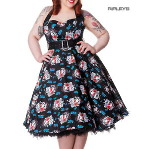 HELL-BUNNY-Floral-50s-DRESS-Blue-Rockabilly-GEISHA-All-Sizes