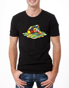 Mens Melting Retro Rubiks Cube 1980s Black Tee T-Shirt Crew Neck Loose Fit