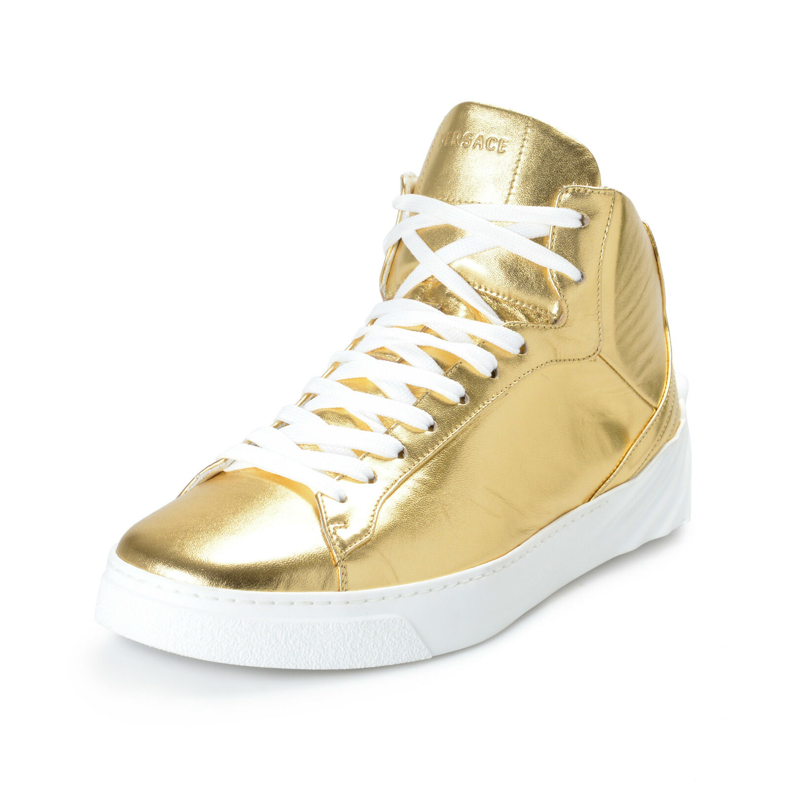 Versace Men's oro Leather Medusa Hi Top Fashion scarpe da ginnastica scarpe Sz 7 8 8.5 9.5