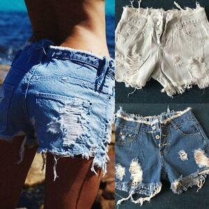 676dd4bf08dd Summer Women High Waisted Washed Ripped Hole Short Mini Jeans Denim ...