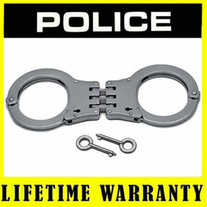 Handcuffs POLICE Professional Metal Heavy Duty Hinged Double Lock Silver