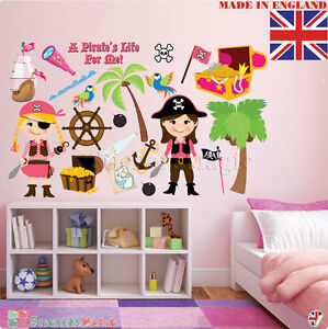 Pirate-Girls-Wall-Stickers-Childrens-Kids-Room-Bedroom-Nursery-Decor-Decal-Vinyl