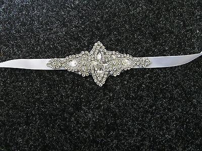Silber Weiß Strass Glitzersteinen Braut Gürtel Sash Klassische  Hochzeit Wulstig
