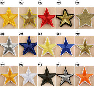 1-10PCS-Embroidered-Sew-On-Patches-Star-Transfer-Fabric-Clothes-Applique-Trim