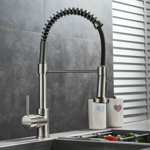 Commercial Spring Single Lever Handle Kitchen Sink Faucet with Pull down sprayer