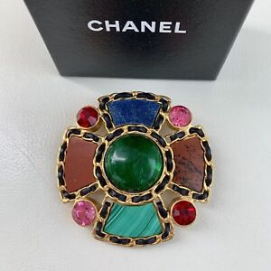 RARE-Runway-1995-Chanel-Large-Gripoix-Multicolor-Agate-Crystal-Brooch-Pendant