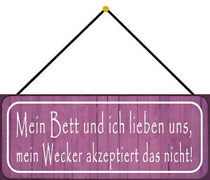 Mein Bed And Ich Tin Sign Shield with Cord 10 X 27 CM K0116-K