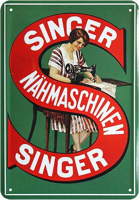 Singer Nähmaschine Nostalgie Blechschild Postkarte Reklame Blechkarte PKM 26