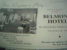 ephemera 1961 advert belmont hotel leicester reception