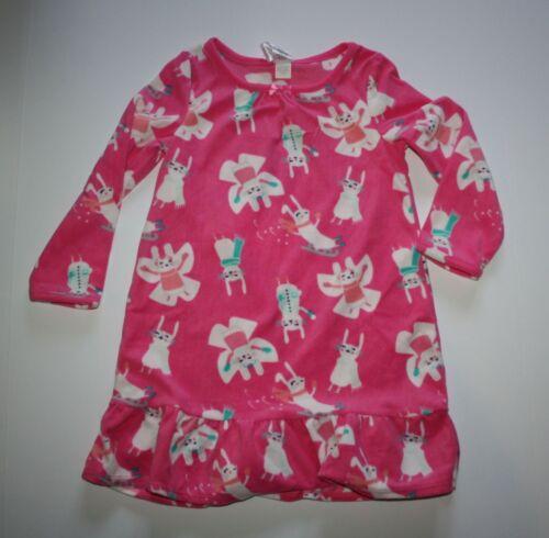 New Gymboree Outlet Girls Fleece Sleep Gown Pink Bunny Rabbit PJs NWT 4 Snow Fun
