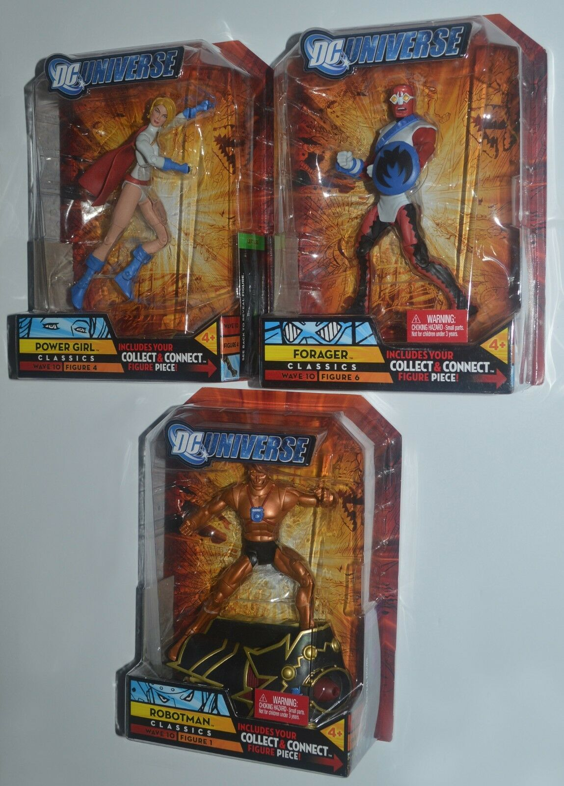 DC Universe POWER GIRL, FORAGER & ROBOTMAN Classcis Collect & Connect Series MIP