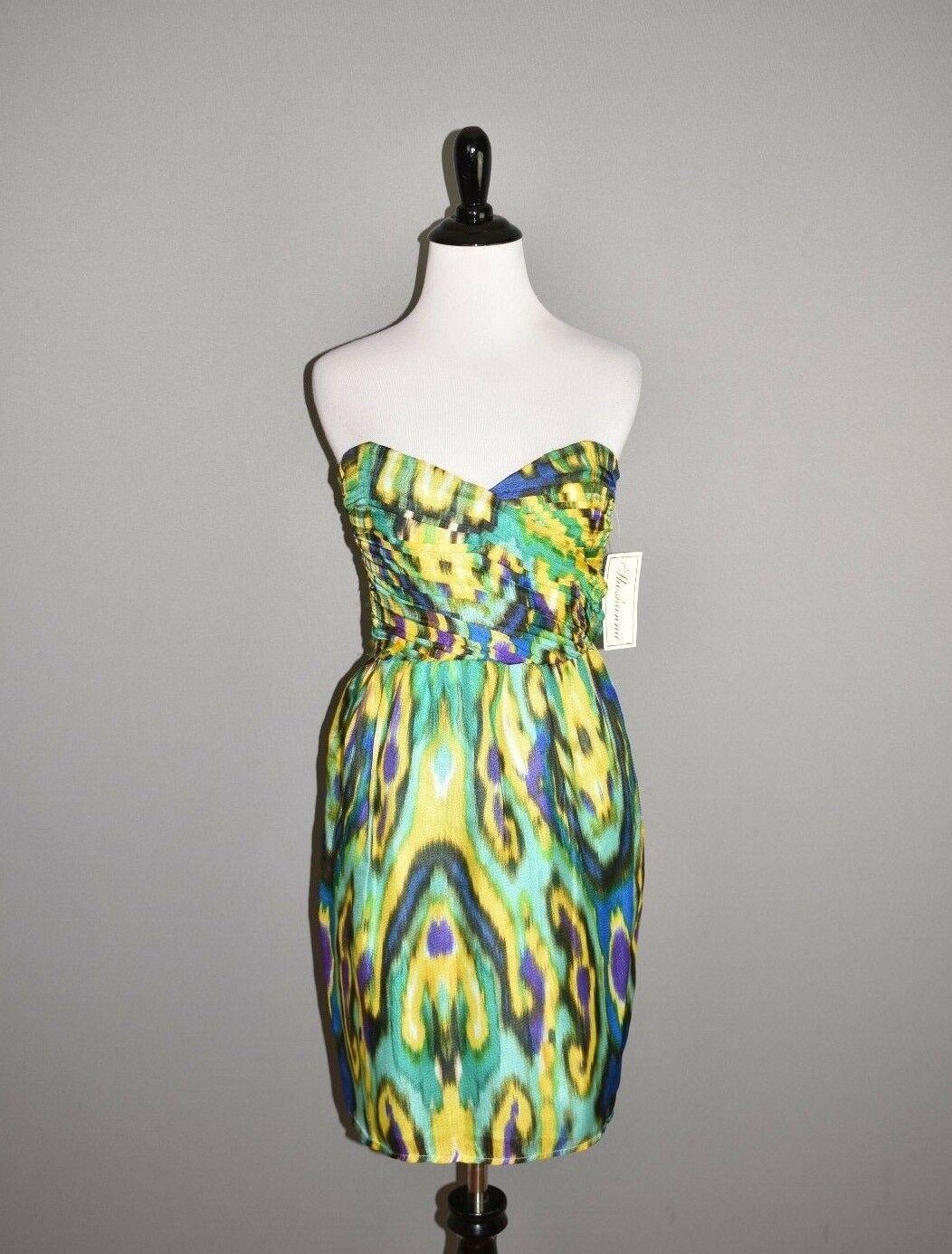 SHOSHANNA NEW  Multi-Farbe Silk Strapless Dress Sweetheart Neckline Größe 6