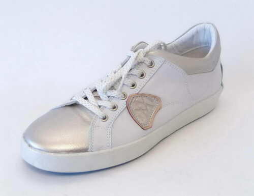 Maca Kitzbühel Sneaker 2220 weiß silber light gold Schnür Leder Einlage