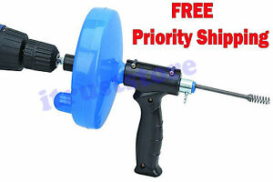 Extra Long Cable Snake Drain Cleaner Auger With Power