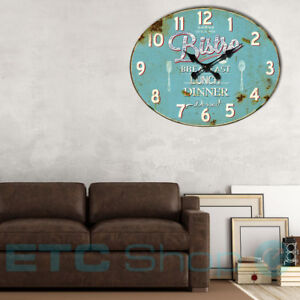 Vintage-Quartz-Wall-Clock-Kitchen-Time-Display-blue-Bistro-Print-rust-colored