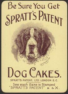 Playing-Cards-1-Single-Card-Old-Wide-SPRATTS-DOG-CAKES-Advertising-SAINT-BERNARD