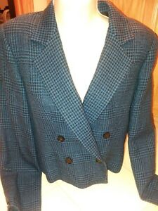 Generous Women's Blue & Black Wool Blazer Suit Jacket Size 6 Women's Clothing