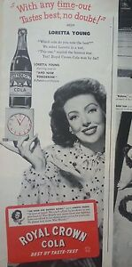 1940s-Royal-Crown-RC-Cola-Soda-Bottle-Hand-Clock-Loretta-Young-Original-Ad