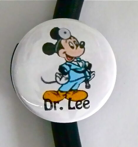 ID STETHOSCOPE NAME TAG MICKEY SURGEON MEDICAL TECH DOCTOR MALE NURSE,