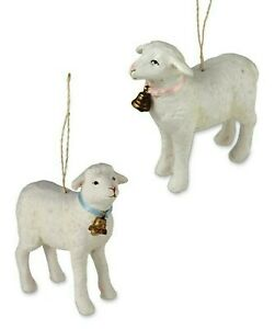 Bethany-Lowe-Set-of-2-Spring-Lamb-Ornaments-TD4008-New