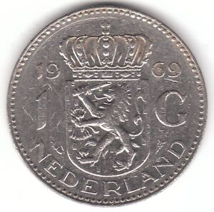 1969-Netherlands-1-Gulden-Nickel-Coin-Juliana-Koningin