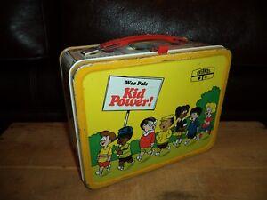 Vintage-1974-Wee-Pals-Kid-Power-Metal-Lunchbox-by-American-Thermos-Nice-looking