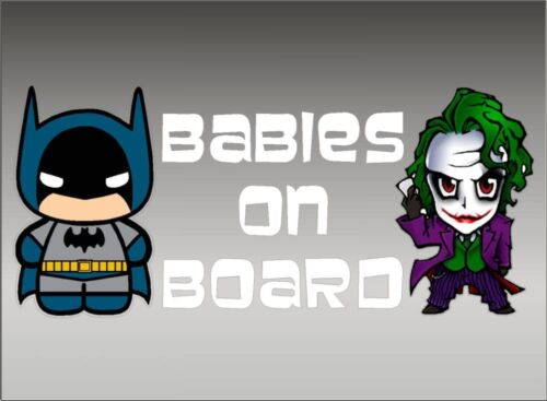 Vinyl Vehicle Child Decal Sticker DC Comics Batman and Joker Babies on Board