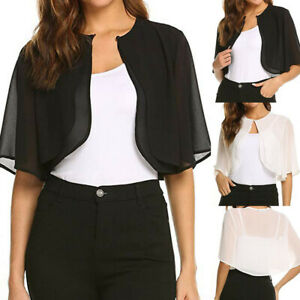 Womens-Summer-Short-Sleeve-Solid-Blouse-Open-Front-Shrug-Cardigan-Tops-T-shirt