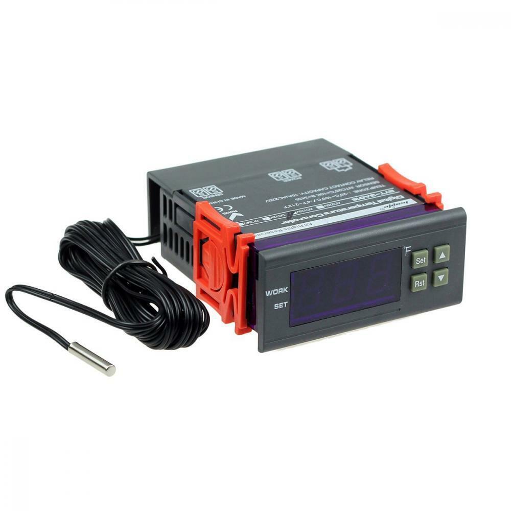 bayite DC 12V Fahrenheit Digital Temperature Controller 10A 1 Relay with Sensor