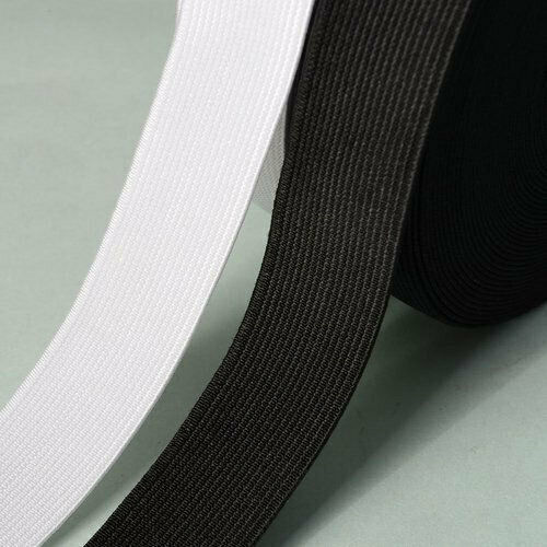 20mm PREMIUM QUALITY Woven Elastic White or Black Full 25 Metre Roll of 2cm